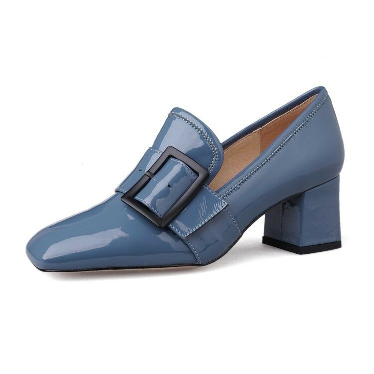 Womens Real Leather Block Med Heels Pumps Square Toe Toe Toe Slip On Buckle Decor shoes 5ef113