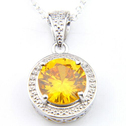 "7pcs 1 Lot Natural CITRINE GRENAT TOPAZE PERIDOT Gems Silver Collier Pendentifs 1/"""