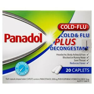 Panadol Paracetamol Cold + Flu Plus Decongestant Caplets 20pk