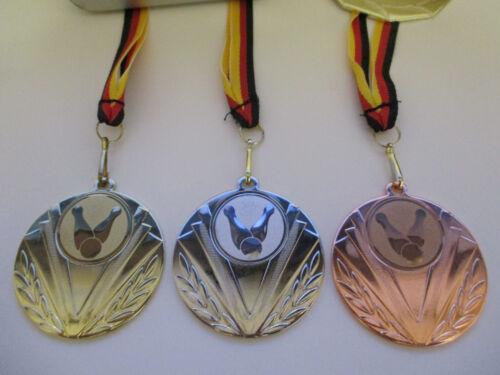 e247 Medaillen Kegeln Kegler Pokal Medaillen 50mm 3er Set mit Band&Emblem Turnier Pokale
