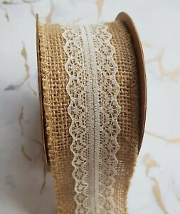 Rustic-Antique-Cream-Lace-Hessian-Ribbon-1yd-x-50mm-5-cm-Wedding-Card-Craft