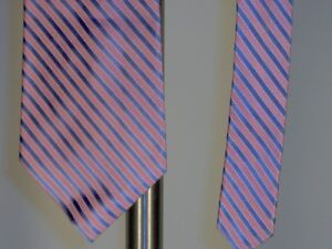 Claiborne-Silk-Necktie-Tie-Pink-Lt-Blue-White-Mens-New-Work-Wedding-Prom-Suit