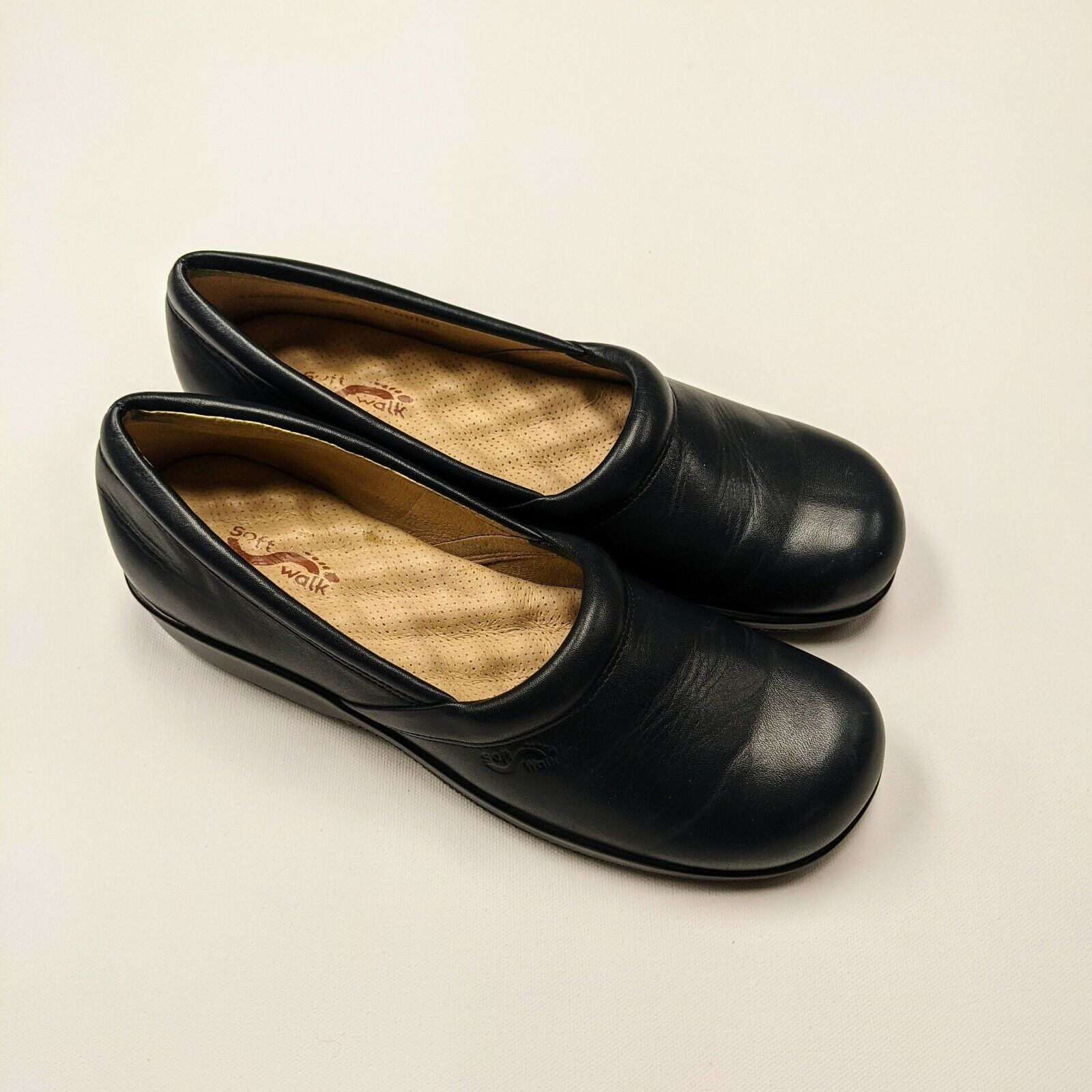 Softwalk Adora Leather Clog Shoes Slip On Shoes Navy 9N