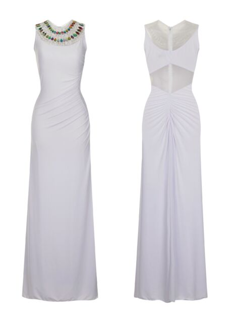 WHITE JEWEL STRETCH RUCHED BACK FISHTAIL SHEER MESH SLINKY MAXI DRESS SIZE 8-16