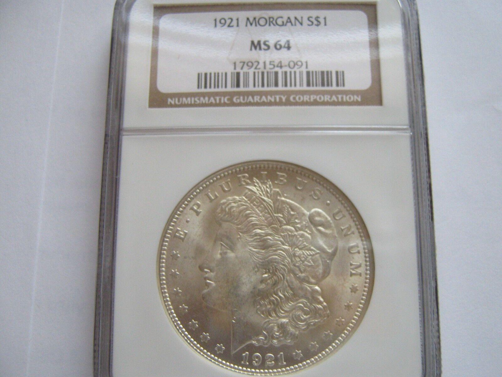 1921 , Morgan Silver Dollar , NGC , MS 64