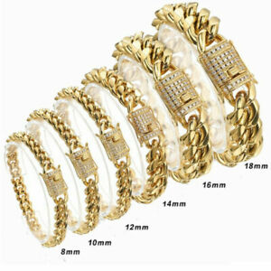 8mm-18mm-Men-039-s-Miami-Curb-Cuban-Chain-Bracelet-Stainless-Steel-Bangle-18K-Gold