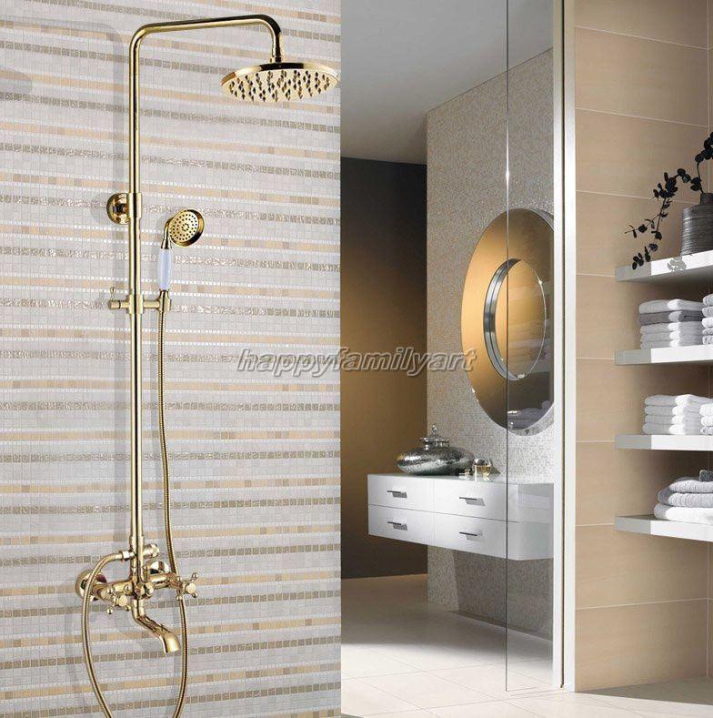 Luxe Doré Laiton Salle de bains 8  douche de pluie Robinet Set Baignoire Mitigeur ygf392