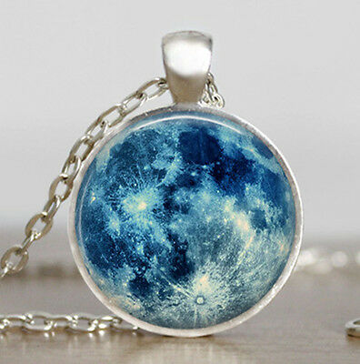 Blue moon necklace, full moon jewelry,Full moon pendant, lunar pendant necklace