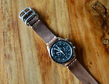 Horween Vintage Brown Horsehide Leather Watch Strap Band 20mm Omega Speedmaster