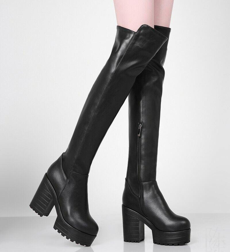 Punk Blockabsatz Platform Stretch-Stiefel Damenpumps 34-43 Overknee Rund Europa