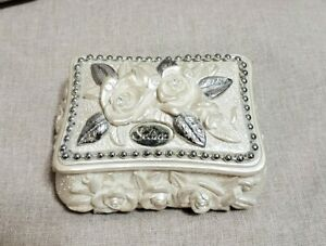 Solina Jewelry Box Trinket Hand Detailed Vintage White Silver Beaded