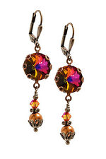 Vintage Volcano Rivoli and Simulated Pearl Earrings with Crystal from Swarovski