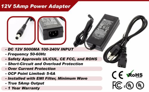 DC 12V 5A Power Supply Adapter 8 Split Power Cable for CCTV Camera DVR UL EMI