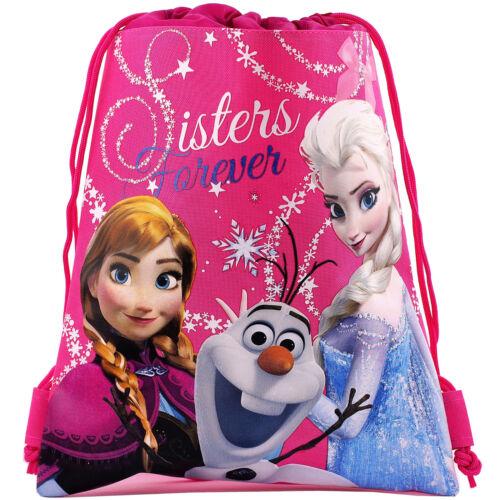 Disney Frozen Elsa Anna Olaf Licensed Pink Drawstring Bag School Backpack