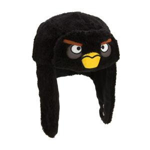 Image is loading Angry-Birds-Black-Bird-Face-Furry-Bomber-Hat 6c1da8e4eb38