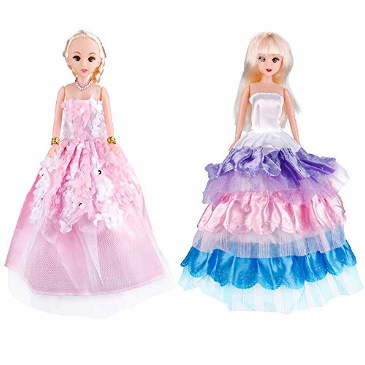 73PCS For Barbie Doll Clothes Party Gown Shoes Bag Necklace Hanger Accessories 4