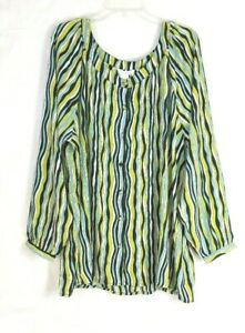 NWT-Womens-Silhouettes-Size-2X-Striped-Button-Down-Blouse-Top-Long-Sleeve
