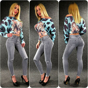 Knee Cut Stretch Jeans Ladies Xs S M L XL Zazou Skinny Out 77258