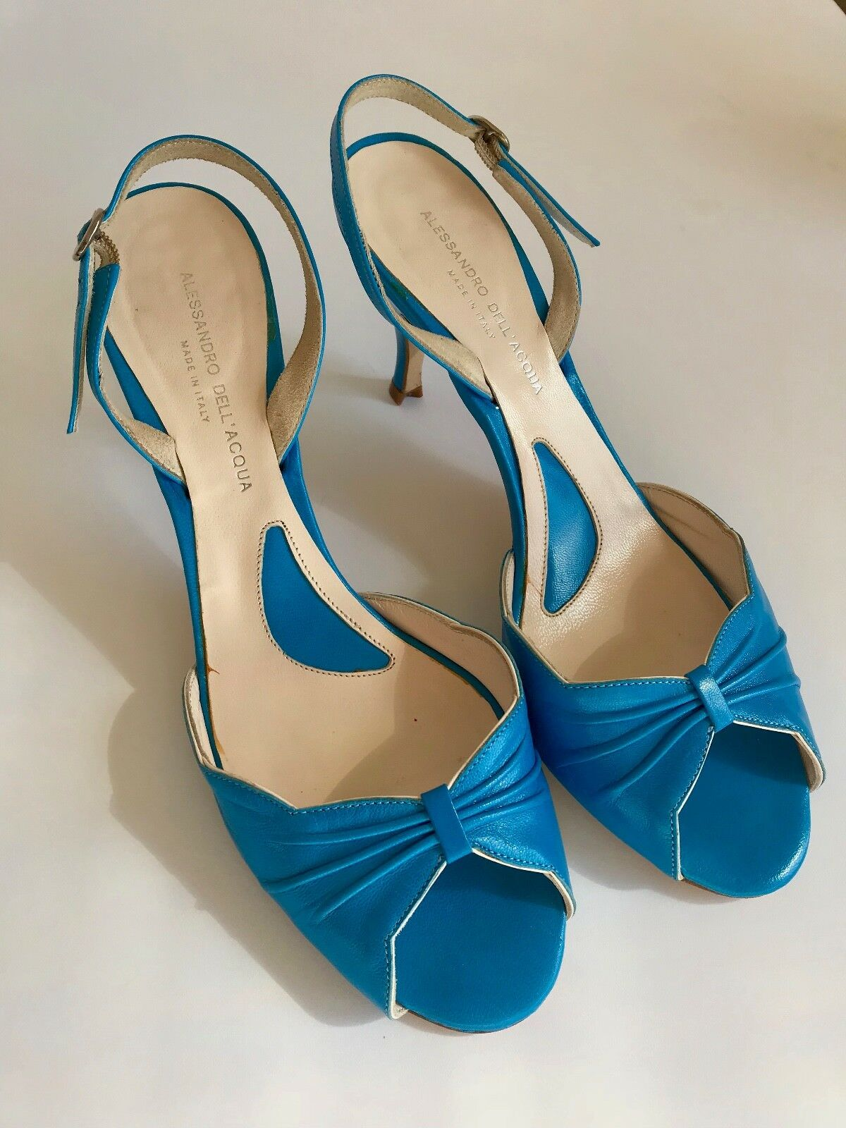 ALESSANDRO DELL ACQUA TURQUOISE Blau SLINGBACK HEELS 37.5 7 7 7 MADE IN ITALY 60c73e