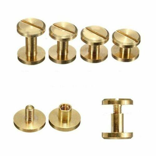 Flat Belt Screw Leather Craft Chicago Nail Brass Solid Rivets Stud Head 6-12mm