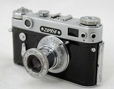 Zorki-6, Soviet Leica based 35mm camera, lens 50mm Industar-22, KMZ Russia 1963