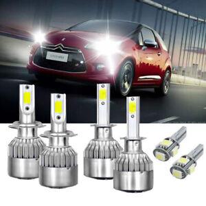 Peugeot 206 100w Super White Xenon HID High//Low//Side Headlight Bulbs Set