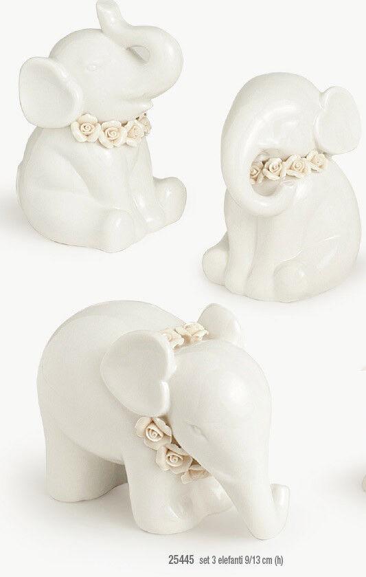 HERVIT 25445 SET 3 Elefanti Portafortuna in Porcellana Weiß