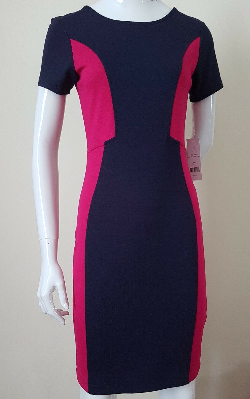 FRENCH CONNECTION DRESS FITTED BODYCON SHORT SLEEVE NAVY   PINK UK16 rrp