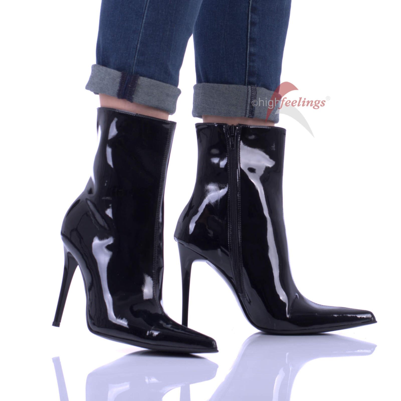 Hohe Stiefeletten High Heels 10 - 13 cm Absatz Lack Schwarz EUR 36 - 47