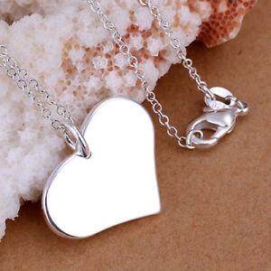 ASAMO-Damen-Halskette-Herz-Anhaenger-Sterling-Silber-plattiert-Herzkette-H1143