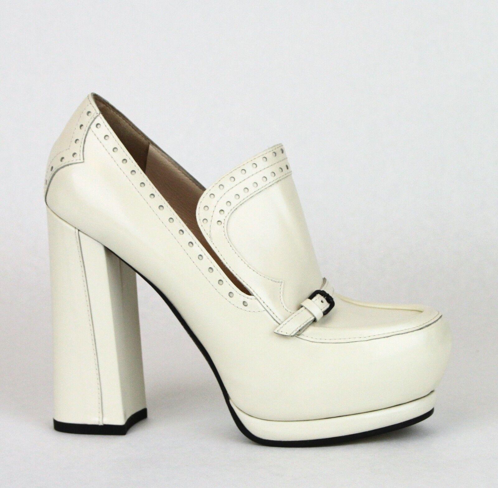 1050 New Authentic BOTTEGA VENETA Leather Platform Heel Pump White 331391 9902