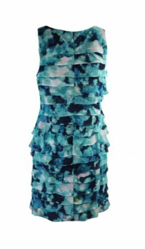 Jessica Howard Petite Blue Printed Tiered Shift Dress 6P 10P MSRP $99