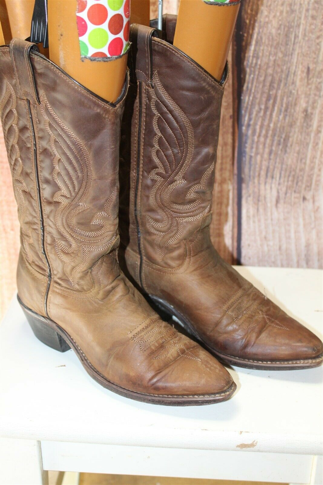 Brown Leather Vintage 6.5 M Women's Cowboy Western Boots