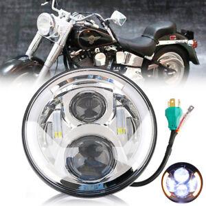 7-034-Moto-Projecteur-4-LED-DRL-Ange-Halo-Oeil-Hi-Lo-Phare-Feux-Avant-Pour-Harley