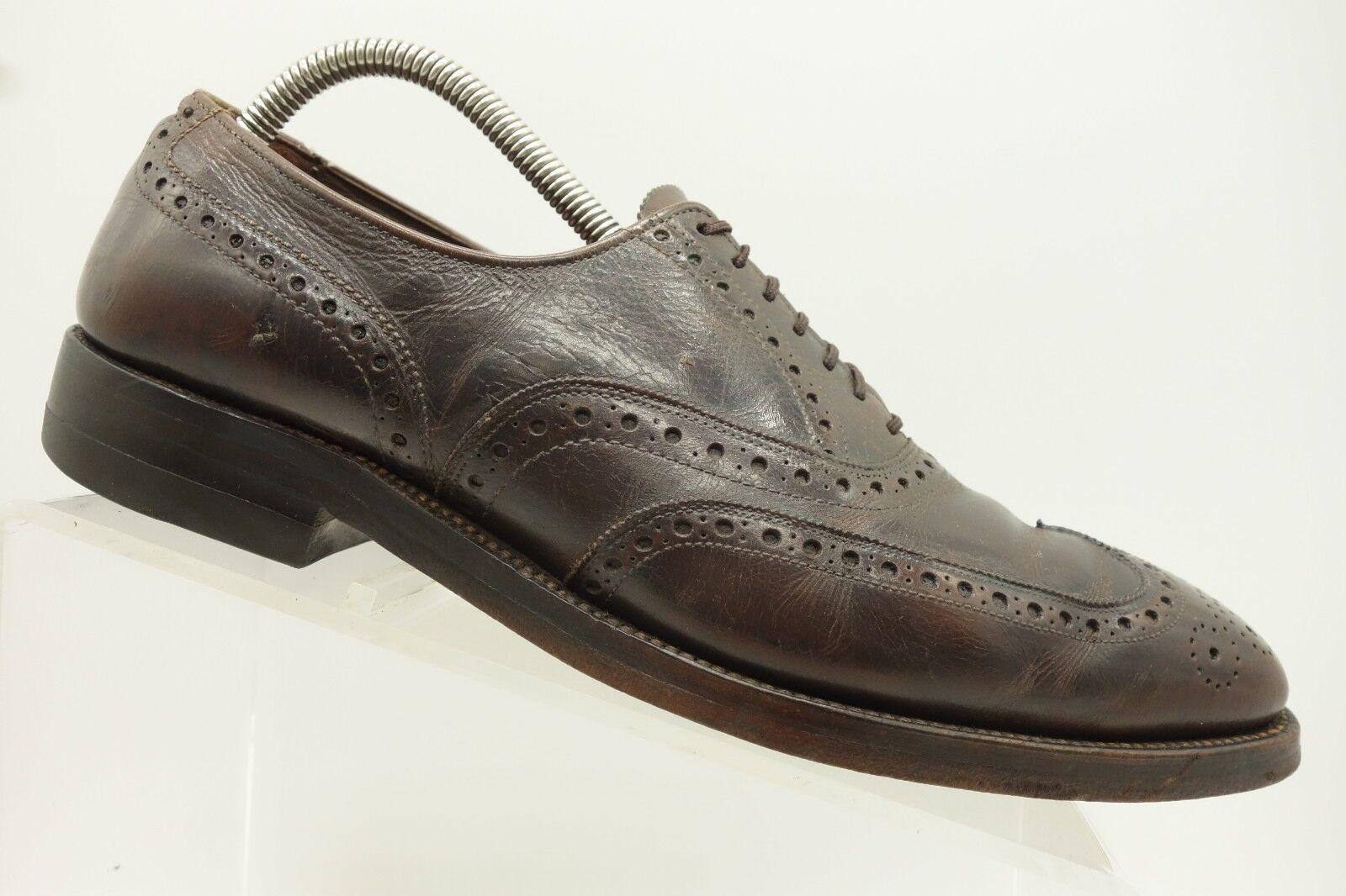 Allen Edmonds Boulevard Brown Leather Wingtip Casual Oxford shoes Mens 9 D