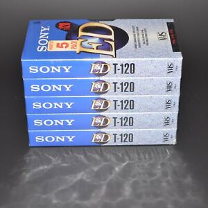 Lot of 5 New Sony ED T-120 6 Hour Blank VHS Video Cassette Tapes T-120 SEALED