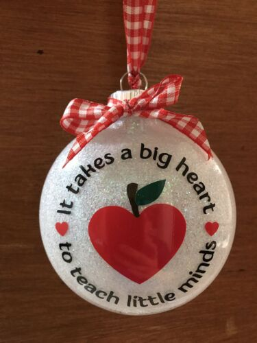 Christmas Ornament Teacher Gift Personalized School Student it takes a big heart