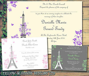 Image Is Loading 10 Paris Eiffel Tower Wedding Invitations Evening Reception