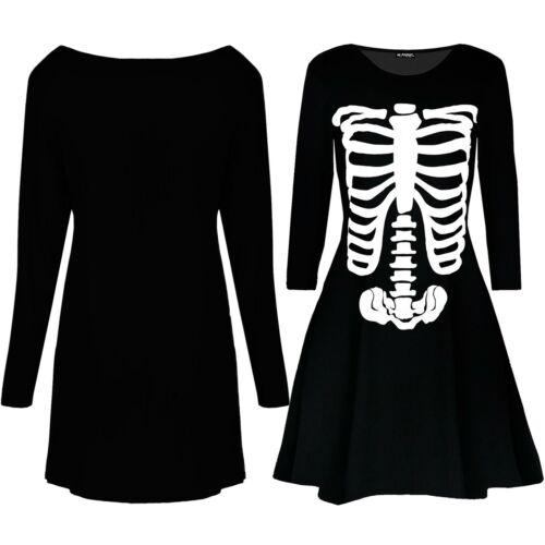 Femme Mesdames Blouse Squelette Imprimé Halloween costume Évasé Swing Mini Robes