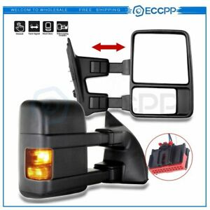 Chrome Covers Set Telescopic Mirrors /& Door Handle for 08-2016 FORD F250 F350 SD
