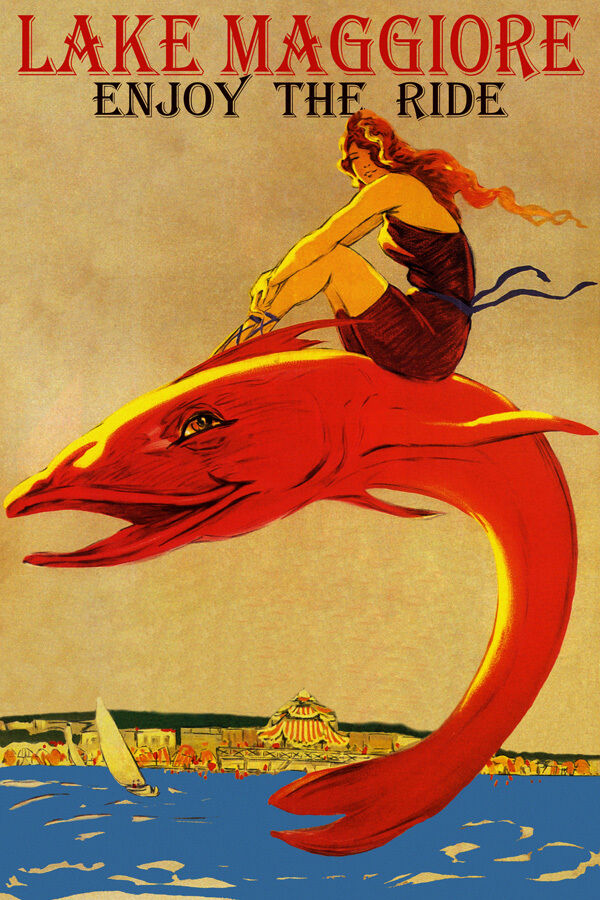 ENJOY THE RIDE LAKE MAGGIORE GIRL RIDING BIG FISH TRAVEL VINTAGE POSTER REPRO