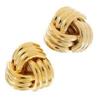 Designer Signed Trifari Vintage Clip On Earrings Large Knot Gold Tone Statement