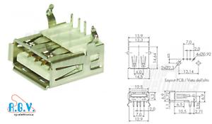 Connettore-USB-presa-USB-tipo-A-femmina-a-90-da-circuito-stampato-a-saldare-PCB