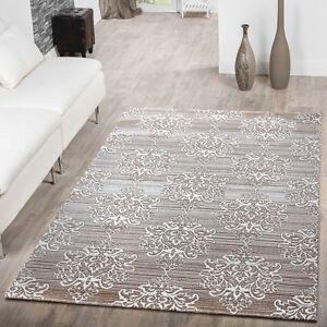 Details zu Teppich Wohnzimmer Modern Floral Muster Abstrakt Meliert in  Beige Creme