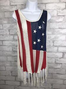 Boho-Cloud-Chaser-Women-039-s-American-Flag-Crochet-Fringe-Macrame-Tank-Top-Sz-Small