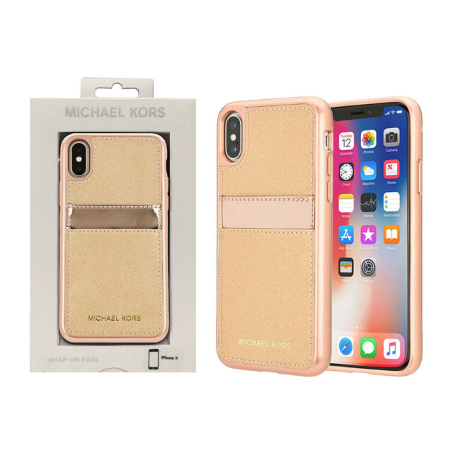 e7545d76aacac5 Michael Kors Saffiano Leather Pocket Case for iPhone X - Rose Gold ...
