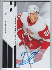 2018-19-UD-PREMIER-DENNIS-CHOLOWSKI-RC-HARD-AUTO-ROOKIE-AUTOGRAPH-55-Red-Wings