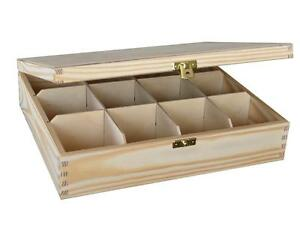 WOODEN TEA BAG BOX WHIT TWELVE COMPARTMENTS IN BROWN COLOUR