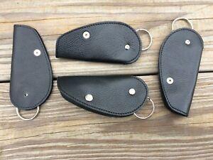 Handmade Key Chain Black Supreme Leather Leaf Key Rings Car Keys Holder