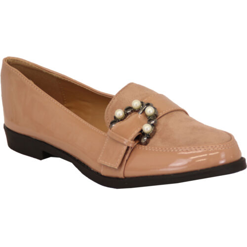 Ladies Loafers Vintage Womens Slip On Suede Patent Look Pumps Pearl Shoes Party